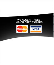 We accept these major credit cards: MasterCard VISA